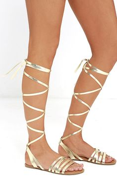 Monday through Friday (and weekends too!) the LULUS Topanga Gold Leg Wrap Sandals are the lace-ups to have! These open-toe sandals have cute vegan leather straps, plus long, leg-wrap laces.