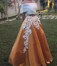 Off the shoulder prom dress,Elegant Two Piece Sabrina Neck Floor-Length Short Sleeves Camel Homecoming Dress with White Appliques