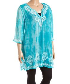 Another great find on #zulily! Ocean Semisheer Lace-Accent Three-Quarter Sleeve Tunic - Plus #zulilyfinds