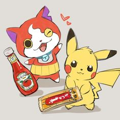 Pokemon x Yo-Kai Watch crossover   Pikachu loves Ketchup and Jibanyan loves choco bars - watch case, online shopping watches for mens, online watch shopping *ad