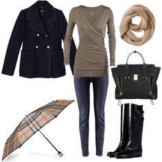 fall outfits polyvore | Chic Black Tan Fall Winter Outfit - Polyvore