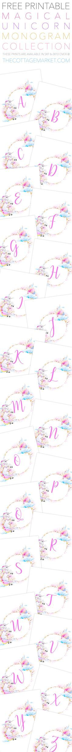 Free Printable Magical Unicorn Monogram Collection that comes in 2 sizes 5X7, 8X10...they are going to look amazing1