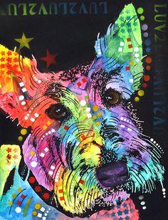 dean Russo Painting Dog Dogs Portrait Graffiti pop Art Pet Ebay Pets Pop scottish Terrier Scottish Terrier Scotty Scottie small Breed Purebred Akc Scotland Painting - Scottish Terrier  by Dean Russo
