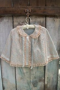 STUNNING 1950s 60s ECRU FLORAL LACE BED JACKET LINGERIE PALE BLUE SATIN SZ M-L in Clothing, Shoes & Accessories | eBay