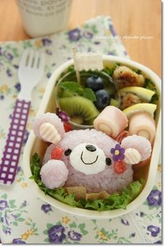 violet color bear rice ball