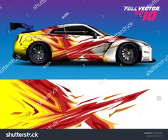 Image Details: Isignstock Contributors Stock photo of Car decal design vector. Graphic abstract stripe racing background kit designs for wrap vehicle, race car, rally, adventure and livery. Car Wrap Design, Car Photos, Rc Cars, Car Decals, Honda Civic, Stickers, Touring, Illustration, Racing