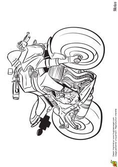 Dessin imprimer et colorier d une moto taill e pour la course - Dessin a colorier spiderman moto ...