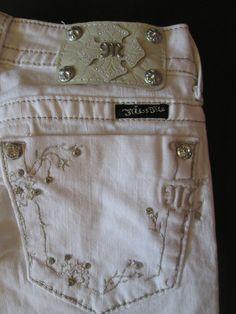 Brand New Miss Me Jeans Embroidery Rhinestones White Skinny Stretch  #MissMe #SlimSkinny
