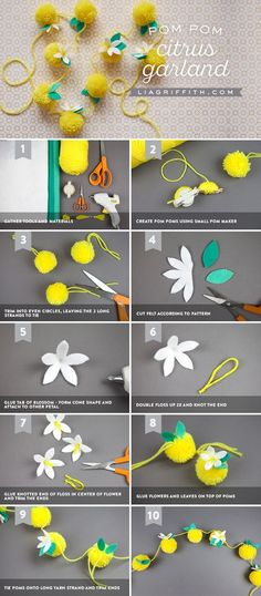Handmade Lemon Garland with DIY Yarn Pom Poms, Handmade Lemon Garland with DIY Yarn Pom Poms Learn how to make a beautiful lemon garland out of yarn pom poms for a bright piece of home or party dec. Pom Pom Crafts, Yarn Crafts, Fabric Crafts, Lemon Crafts, Diy Girlande, Pom Pom Garland, Tulle Poms, Tulle Tutu, Passementerie