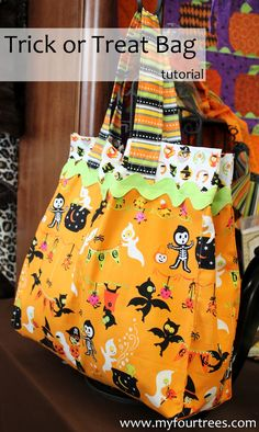 Would make it from other fabrics...not for Halloween... Good tute. Trick or Treat Bag Tutorial from The Fabric Mill Blog