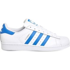 Adidas Superstar 1 leather trainers ($88) ❤ liked on Polyvore featuring shoes, sneakers, white blue, adidas shoes, print sneakers, star shoes, leather sneakers and perforated leather sneakers