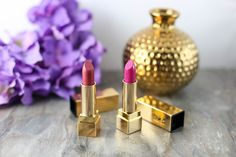 YSL Rouge Pur Couture Lipsticks in Rose Stiletto and Fuchsia Review and Swatches