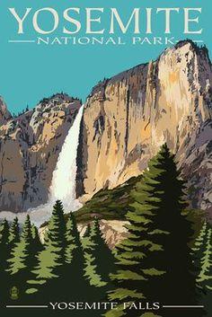 sequoias yosemite vintage poster | ... Falls - Yosemite National Park, California - Lantern Press Poster
