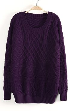 Dark Purple Long Sleeve Cable Knit Pullover Sweater