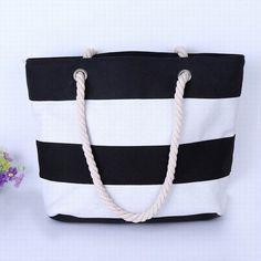 Large Striped Canvas Shoulder Bag