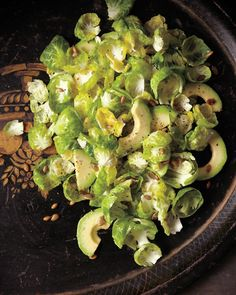 Brussels Spout Salad with Avocado and Pumpkin Seeds