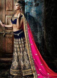 Blue & Pink Wedding Wear Indian Lehenga Style Saree