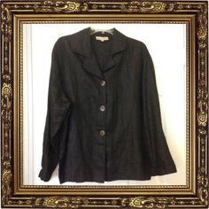 Beasutiful Black LAGENLOOK David Dart Lightweight 100% Linen Jacket Size Large  #DAVIDDART #UniqueDesignJacket