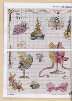 0 point de croix collection de chapeaux pastel - cross stitch collection of pastel hats 2