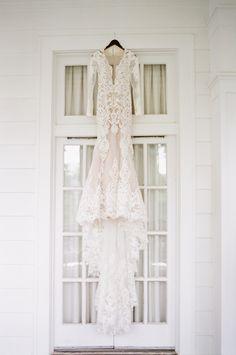 This Berta wedding dress is sexy magic. Photography : Almond Leaf Studios Read More on SMP: http://www.stylemepretty.com/2016/08/26/classic-elegant-duke-mansion-wedding/