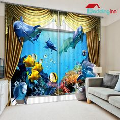 Lifelike Undersea World Printed Blackout And Decoration Custom Curtain For Living Room