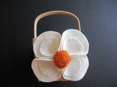 Flower Girl Basket Wedding  Ivory Orange camellia flower choose your colors #flowergirlbasket  by ArtisanFeltStudio, $26.00