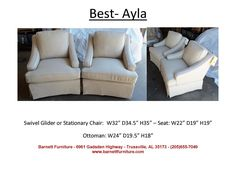 Best Ayla Chair.  Swivel or Stationary - you choose the fabric.