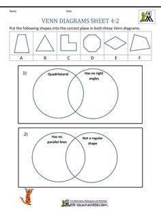 Sort the shapes using the properties in the venn diagrams.
