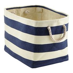 Chic Organization - great for a playroom, living room, or home office! Navy & Ivory Rugby Stripe Bins from The Container Store (small is $12, large is $17)