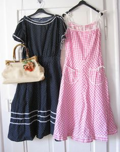 One of the cutest vintage dresses I've seen in a while, I love the gingham print, the shoulder ties and pocket detailing on the pink dress.