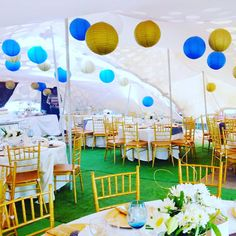 Stretch tent African traditional wedding decor (Gold and Royal blue) at Shonga Events