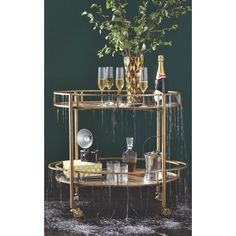 Home Decorators Collection Eliza 2-Shelf Bar Cart in Gold-7639900530 - The Home Depot