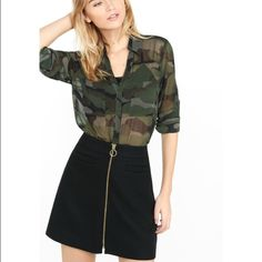 Express camouflage sheer Portofino shirt Camouflage Portofino shirt with convertible sleeves! Never worn but tags have been removed! Express Tops Button Down Shirts