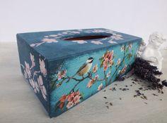 Wooden Tissue box cover Kleenex box cover by VintageLullabyDesign