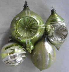 4 Old Sage Chartreuse Indent Drop Mercury Blown Glass Ornaments Antique German | eBay