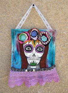 Calavera Day of the Dead Painted Fabric by PaintMyselfPretty