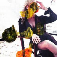 working through some ideas. Random Rorschachs on glossy half spreads. Opposite half removed.