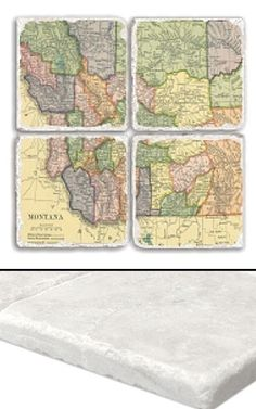 """Montana Map Coaster Set    An impressive collection of marble coasters featuring a beautifully colored map of Montana.   Each Montana coaster measures 4"""" x 4"""", and is constructed of high quality, Botticino tumbled marble.  A perfect gift for weddings, anniversaries, business gifts and any other special event in your life.  Best of all, these Montana coasters are artfully constructed in the USA!     Botticino Tumbled Marble  Each Tile Measures 4""""x4"""""""