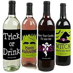 Custom Trick or Treat - Personalized Halloween Party Wine Bottle Labels - Set of 4 Halloween 6, Halloween Labels, Halloween Stickers, Wine Bottle Labels, Personalized Stickers, Wine Parties, Trick Or Treat, Personalised Stickers, Halloween Signs