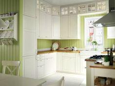 kleine Küche in L-Form in Weiß, Schwarz und Holz | Küche | Pinterest