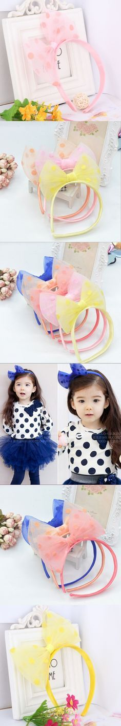 Lovely Hair Accessories Girls Chiffon Printing Dots Bow Headbands Baby Princess Headdress Sweet Hair Ornamens Hair Band