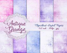 PINK & BLUE GRUNGE Digital Paper Pack Commercial by ClipArtBrat
