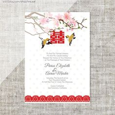 Double Happiness with Chinese Peony Wedding Invitation Card Rustic