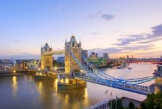 britain river thames and tower bridge at dusk london england, United Kingdom Places Around The World, Oh The Places You'll Go, Places To Travel, Places To Visit, Around The Worlds, Tower Bridge London, Brooklyn Bridge, Thinking Day, City Landscape
