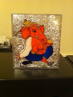 Ganesha painting using reverse glass painting technique. Upcycling a CD case