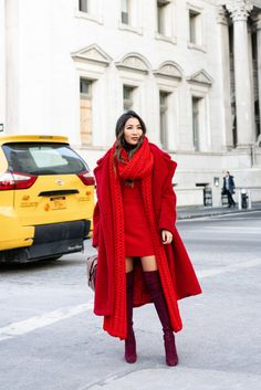 Lady in Red, Winter Edition Red Fashion, Winter Fashion, Fashion Dresses, Woman Fashion, Ladies Fashion, Style Fashion, Fashion Trends, Wendy's Lookbook, Fashion Lookbook