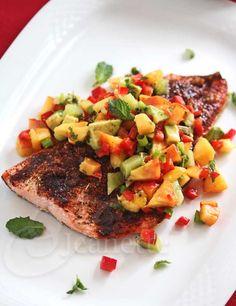 Chili Salmon with Peach Kiwi Avocado Pepper Salsa © Jeanette's Healthy Living