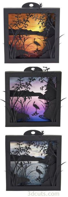 Heron Cove Shadow Boxes Cutting Files by Marji Roy of for use with Silhouette and Cricut cutting machines Kirigami, 3d Paper Art, Paper Crafts, Diy Paper, Origami Paper, Minecraft Decoration, 3d Cuts, Summer Scenes, Quilled Creations