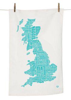 Turquoise tea towel of Britain.