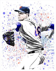 Jacob deGrom - New York Mets poster. Available in a variety of sizes. Posters ship in sturdy mailing tube within days of ordering. Dallas Cowboys History, Cowboy History, Peyton Manning Colts, Monterey Pop, Lets Go Mets, Splatter Art, Sports Posters, Folk Festival, History Timeline